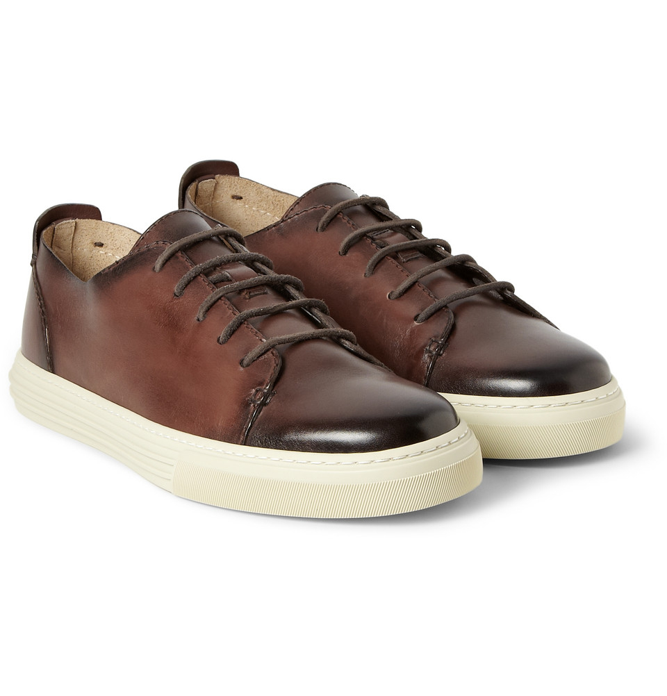 Gucci Burnished Leather Lowtop Sneakers in Brown for Men ...