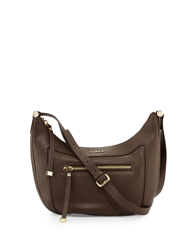 3f192815cb9d Lyst - Furla Ginevra Small Leather Crossbody Bag in Brown