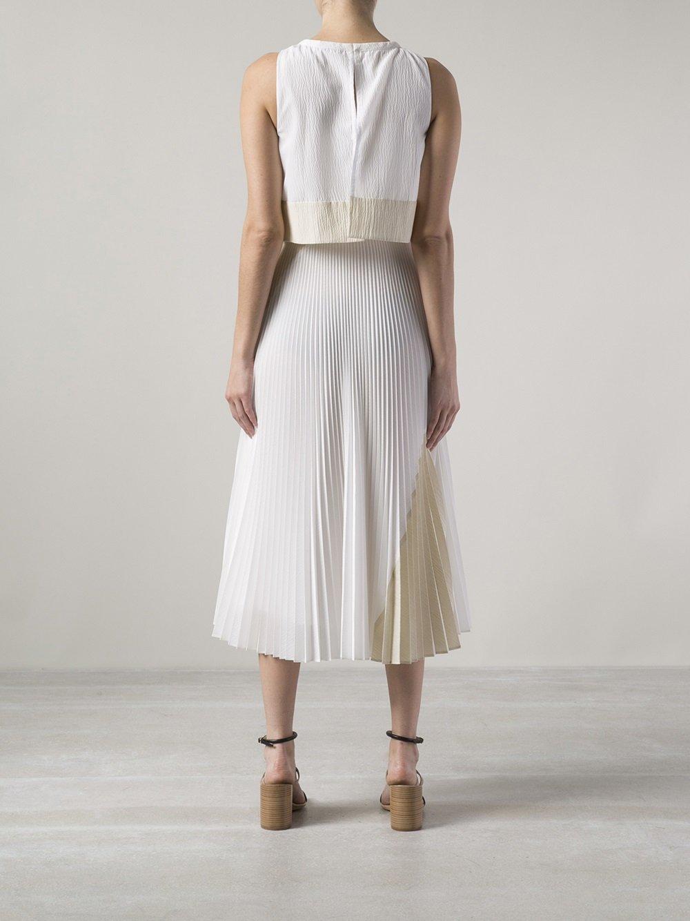 proenza schouler long pleated skirt dress in white lyst