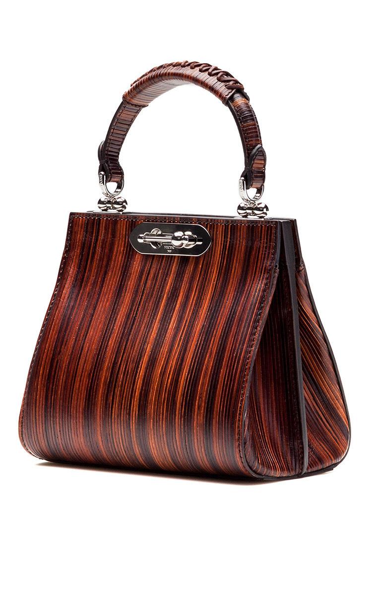 Bertoni Wood Effect Leather Mini Doriana Top Handle Bag in Brown | Lyst