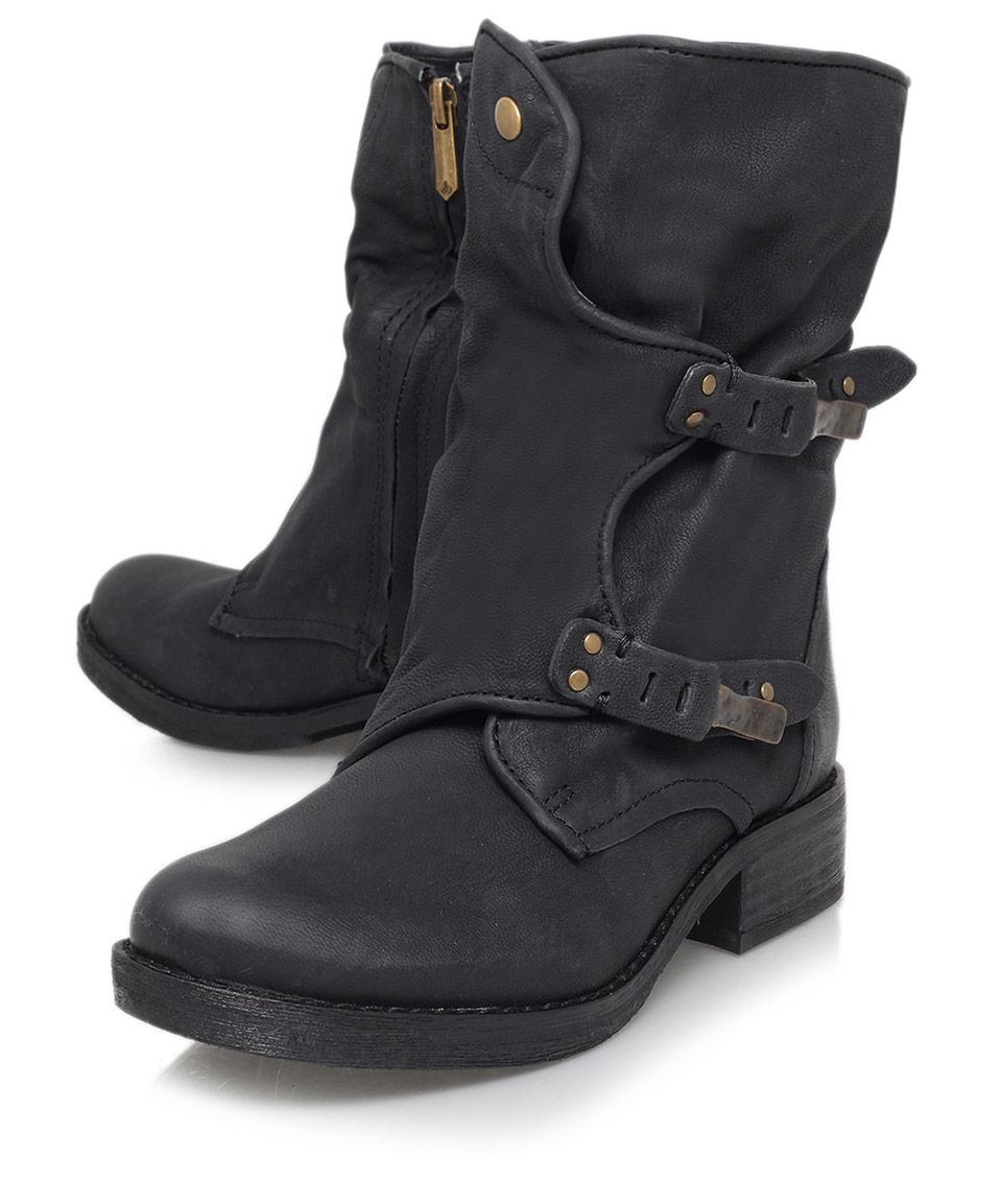 e74d1122b Lyst - Sam Edelman Black Ridge Dual-Buckle Leather Biker Boots in Black