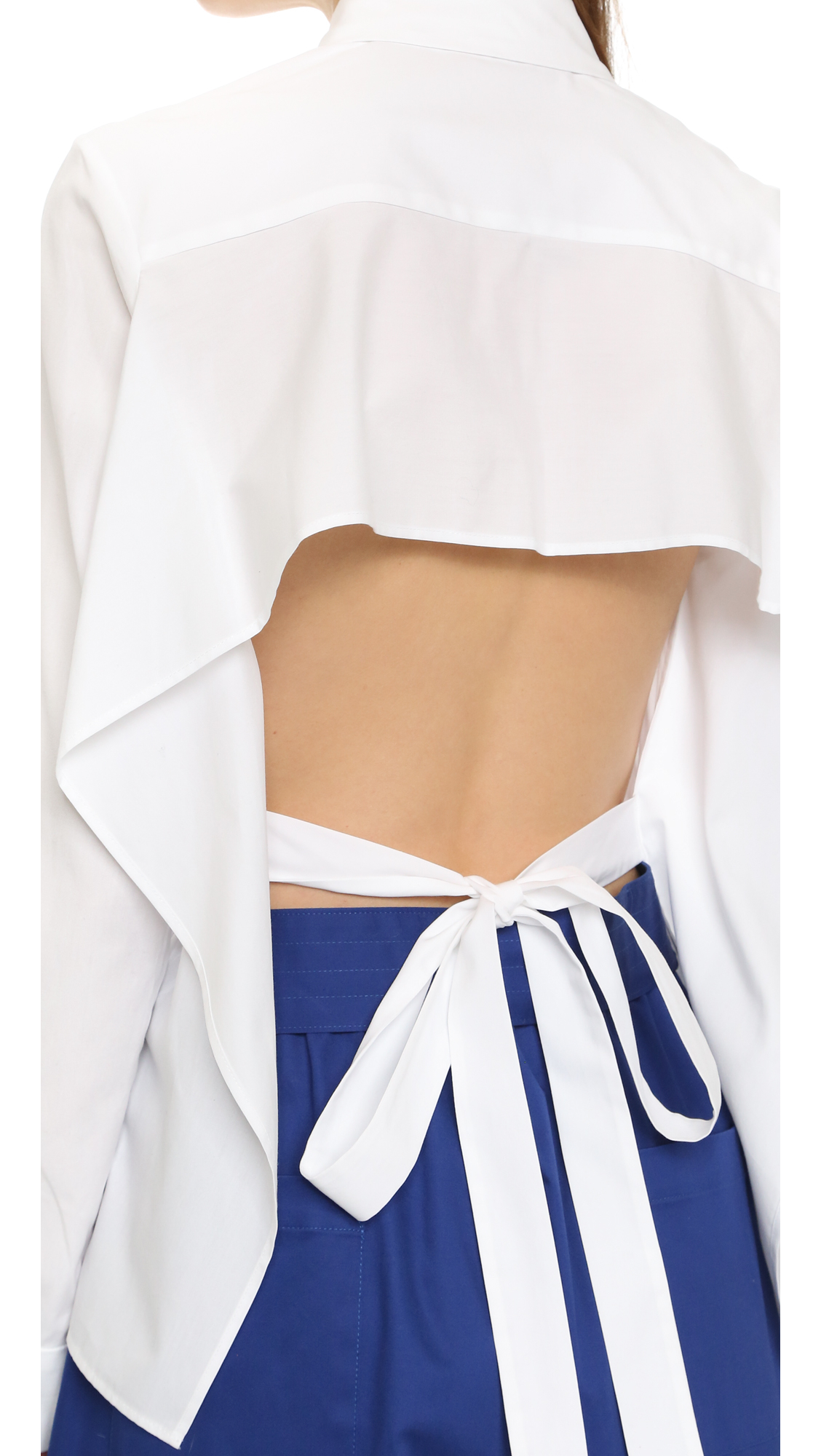 Tome cotton poplin tie back shirt in white lyst for How to make a tie back shirt