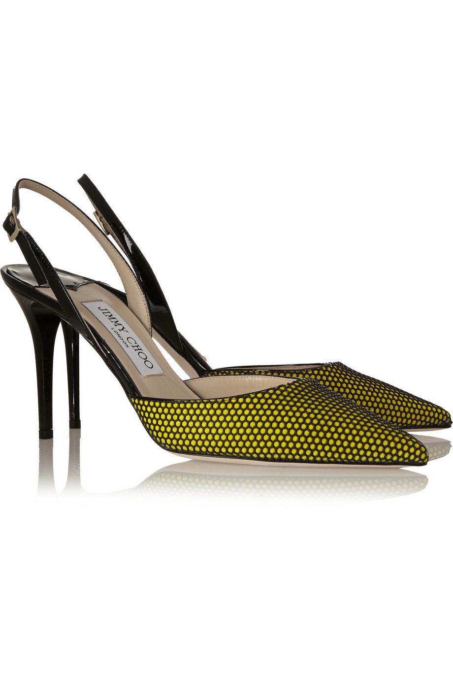 676052f2dbbc Lyst - Jimmy Choo Tilly Honeycomb-Mesh And Patent-Leather Pumps in Green