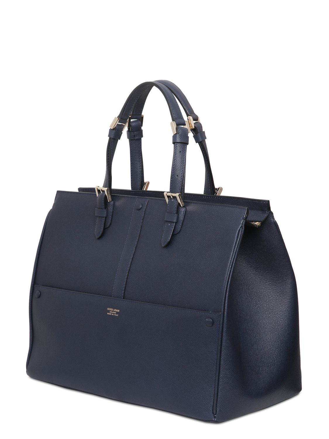 Lyst - Giorgio Armani Weekend Saffiano Leather Top Handle Bag in Blue 264206dc05