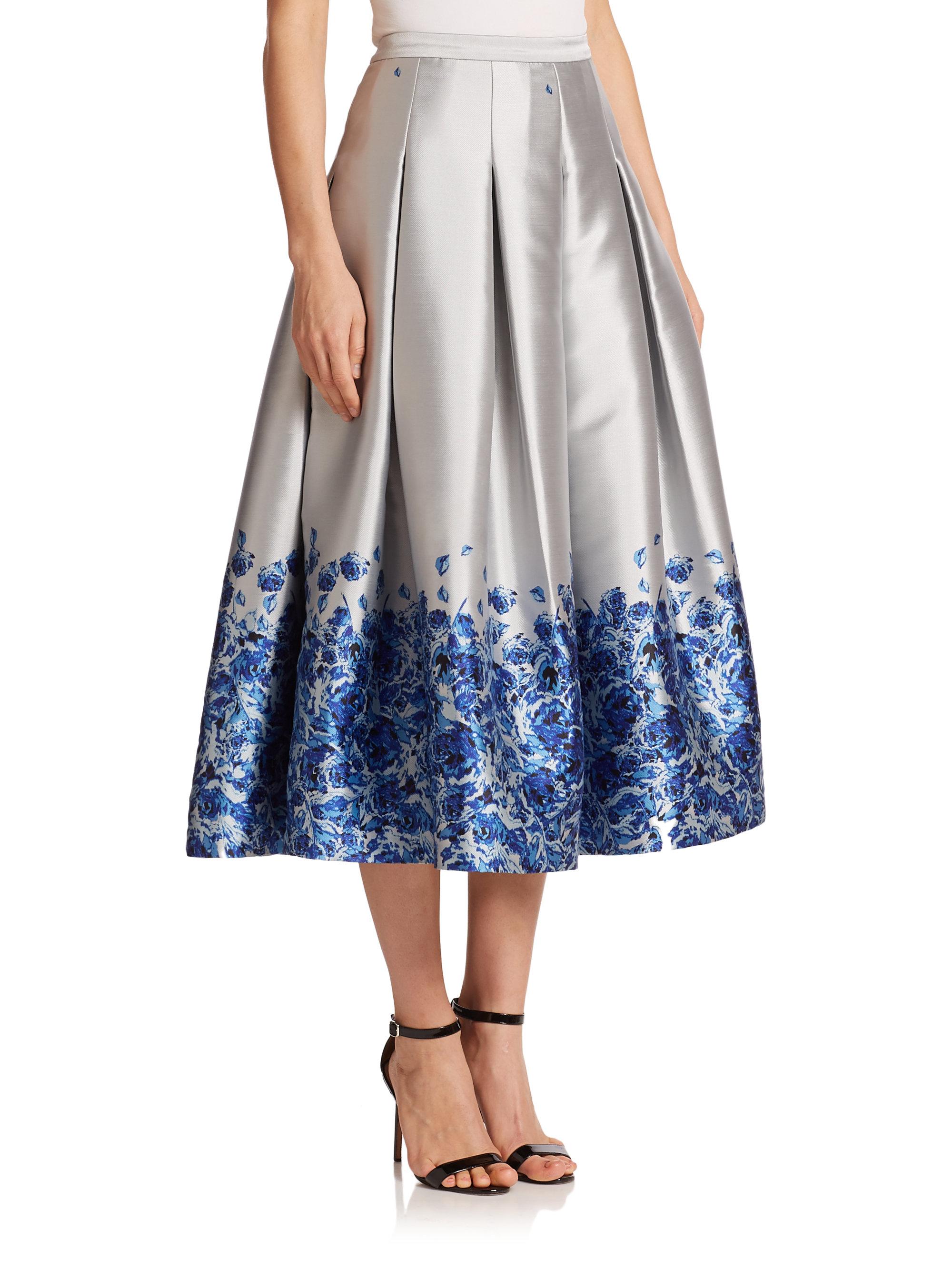 Sachin & babi Confetti Floral Satin Midi Skirt in Blue | Lyst