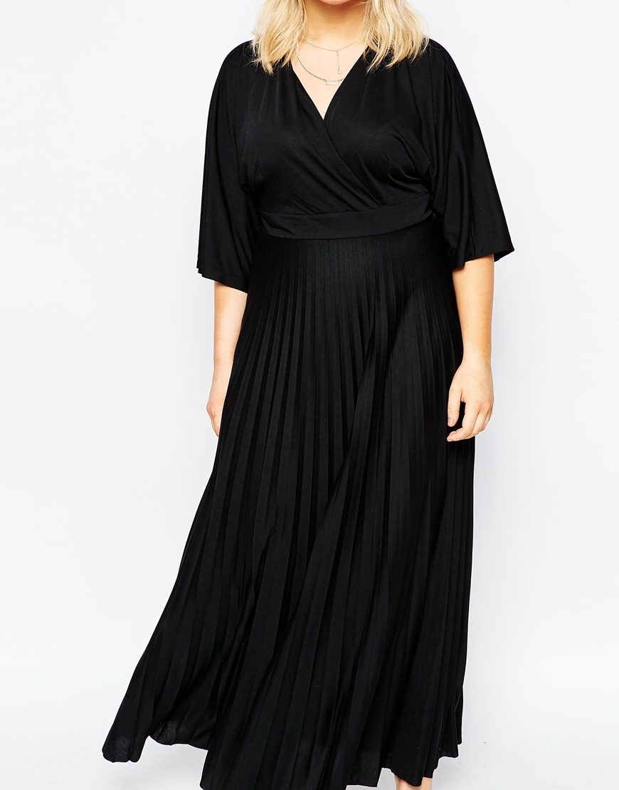 asos kimono maxi dress with pleated skirt in green lyst