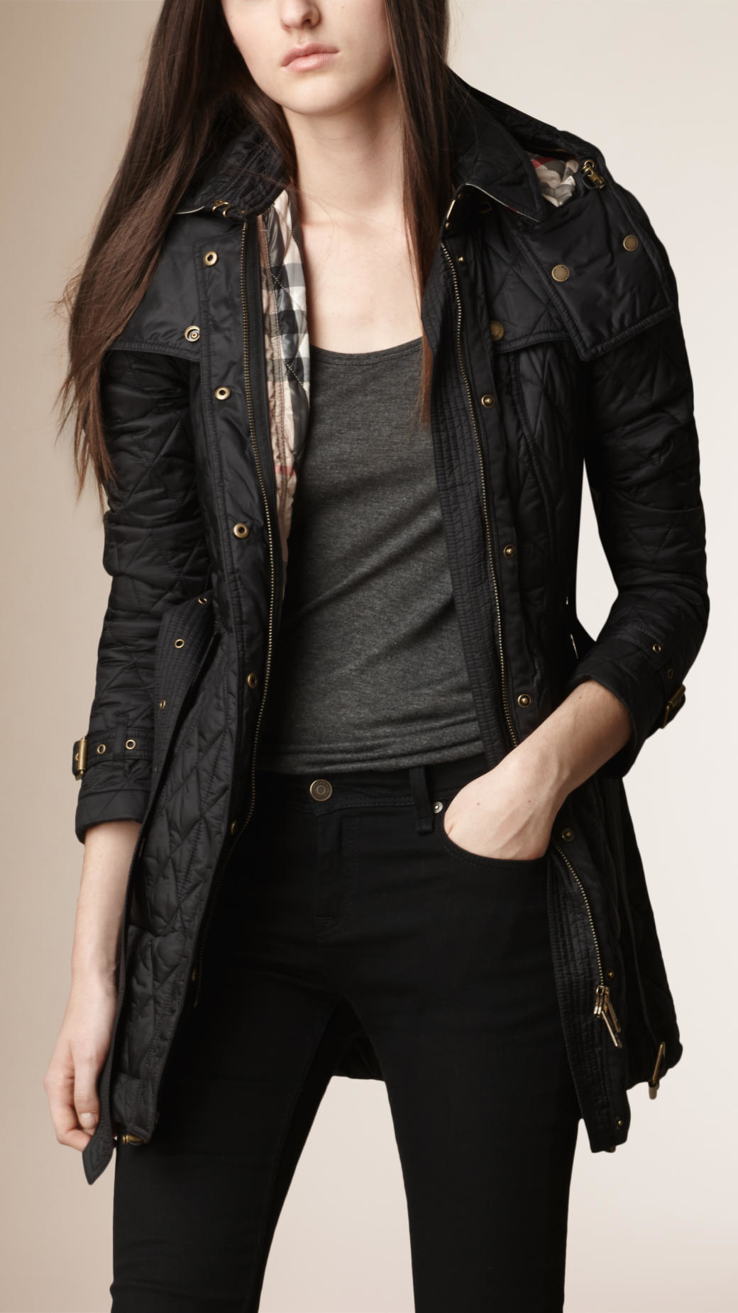 Burberry Diamond Quilted Coat Black In Black Lyst