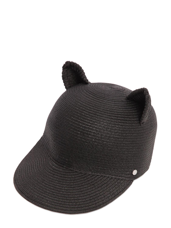 Lyst - Karl Lagerfeld Choupette Ears Paper Baseball Hat in Black 92661f176b0