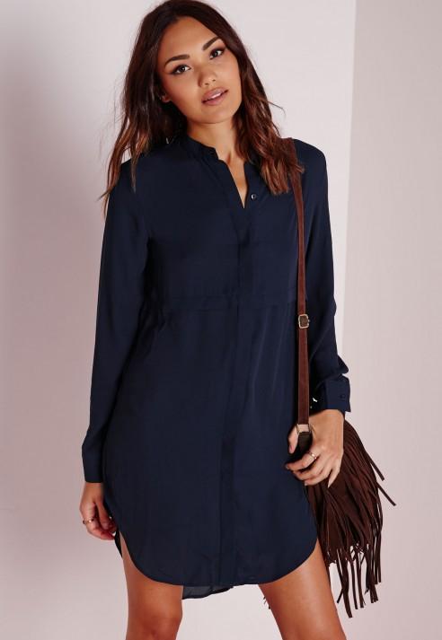 navy blue shirt dress - Dress Yp