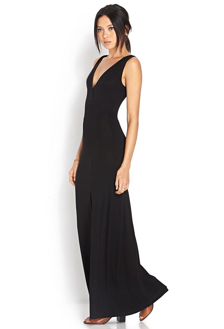 8119f6c5470 Forever 21 Sleek Surplice Slit Maxi Dress in Black - Lyst