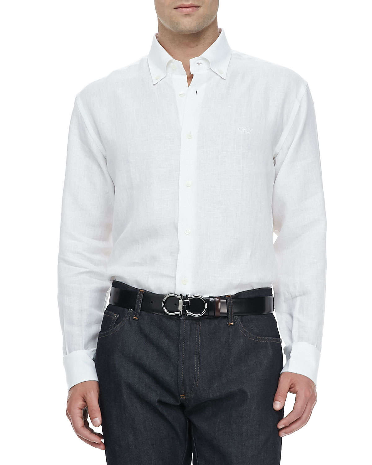 Ferragamo cotton button collar sport shirt in white for for Button up collared sport shirts
