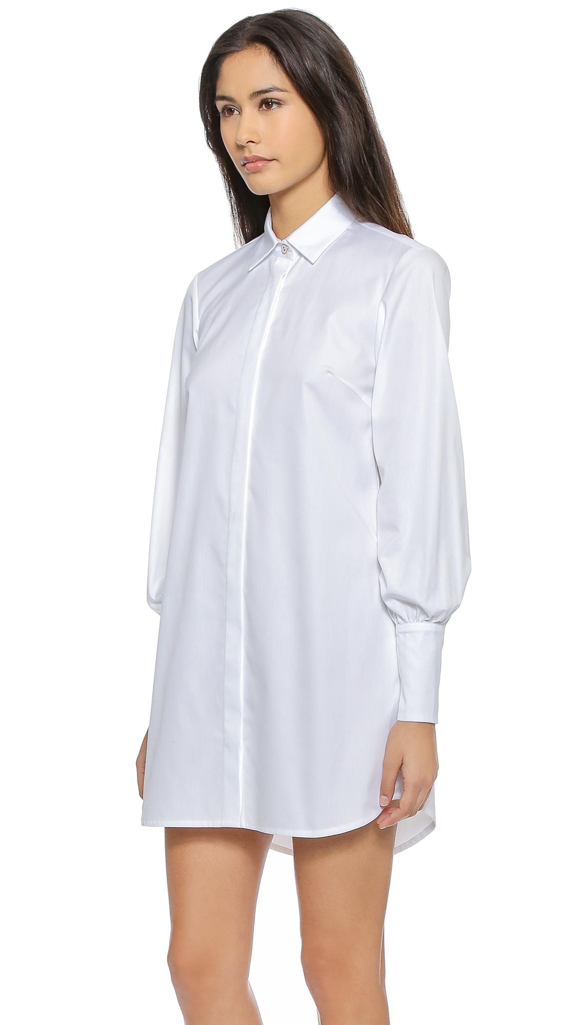 Lyst Caroline Constas Boyfriend Shirtdress Solid White In White