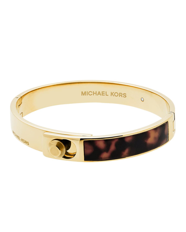 Michael Kors Astor Acetate Hinge Bangle In Metallic Lyst