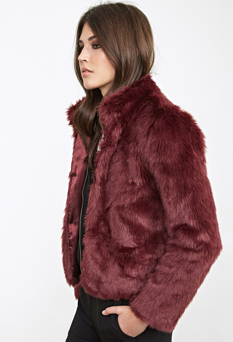 Lyst - Forever 21 Boxy Faux Fur Coat in Purple