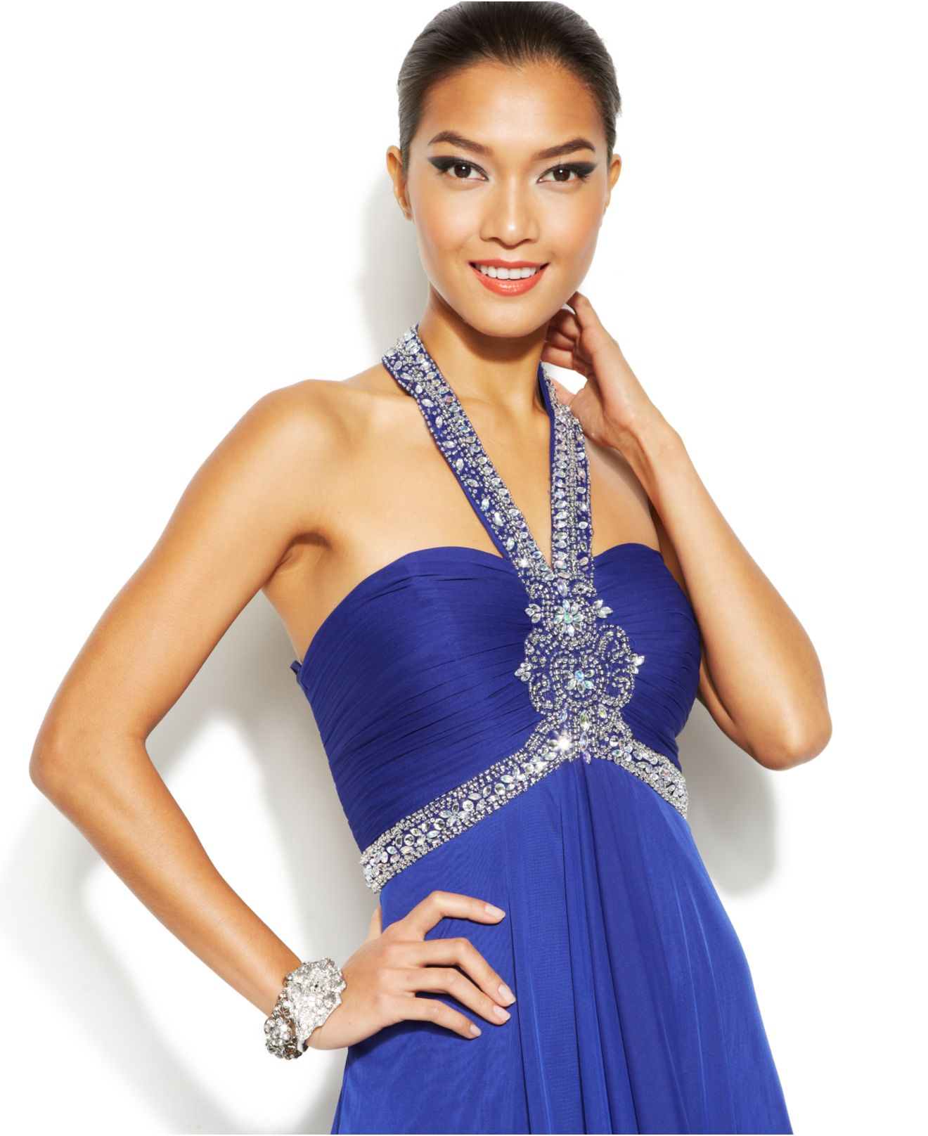 Lyst - Xscape Embellished Flyaway Halter Gown in Blue