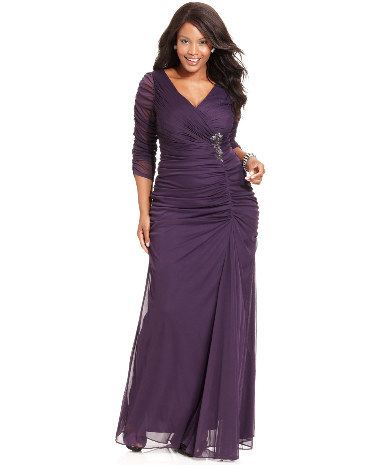 Adrianna papell Plus Size Three-quarter-sleeve Ruched Gown in ...