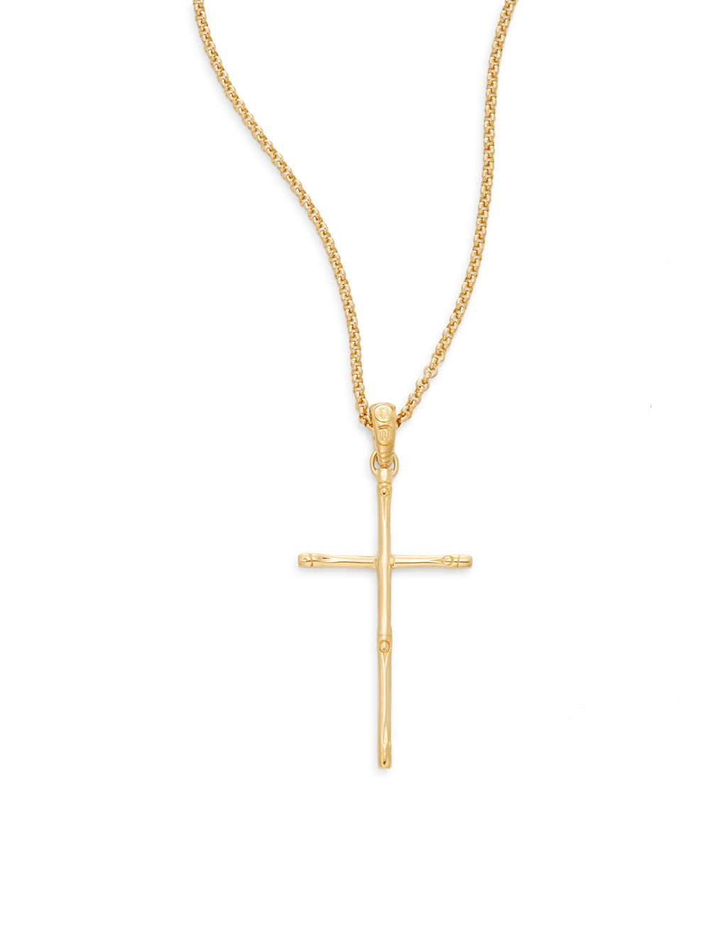 Lyst john hardy bamboo 18k yellow gold cross pendant necklace in gallery audiocablefo