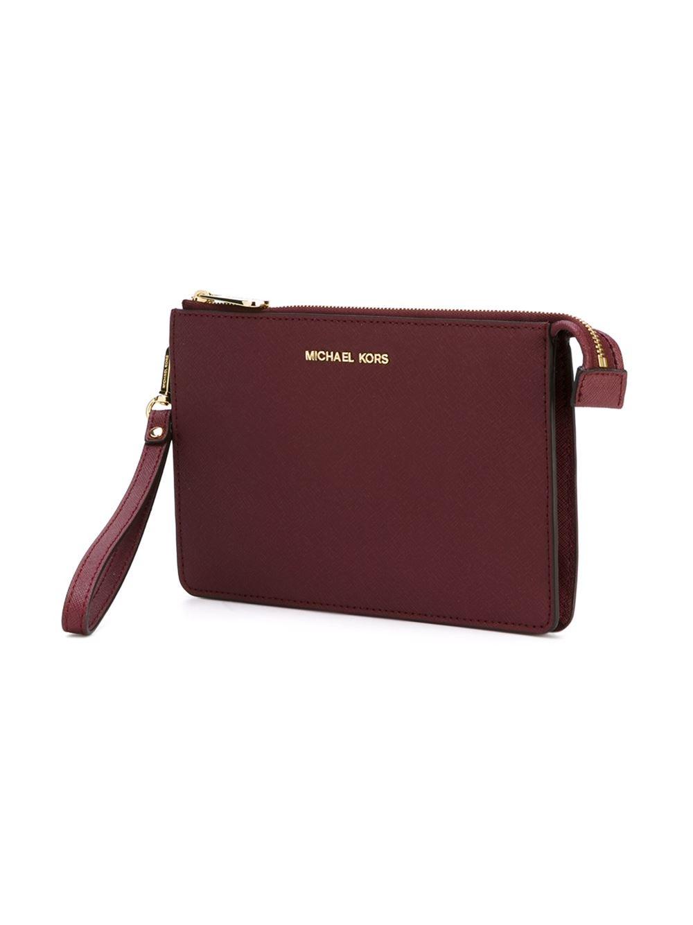 ba377113b051 ... Body Bag Lyst - Michael Michael Kors Daniela Wristlet Clutch in Red ...