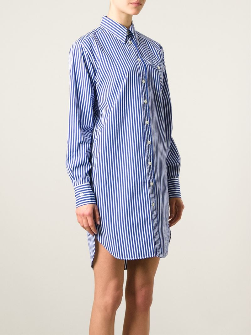 db6b13b5714 Polo Ralph Lauren Striped Shirt Dress in Blue - Lyst
