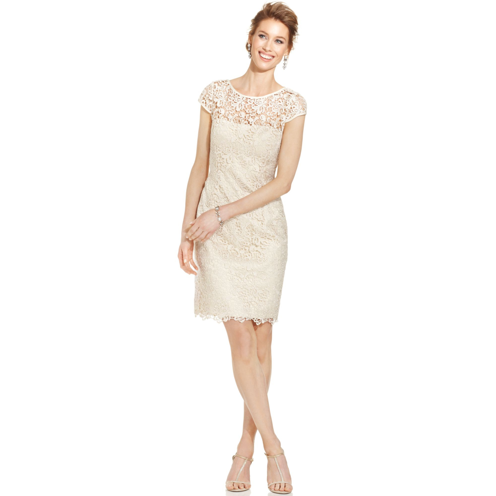 Lyst - Adrianna Papell Petite Capsleeve Illusion Lace Sheath in Natural