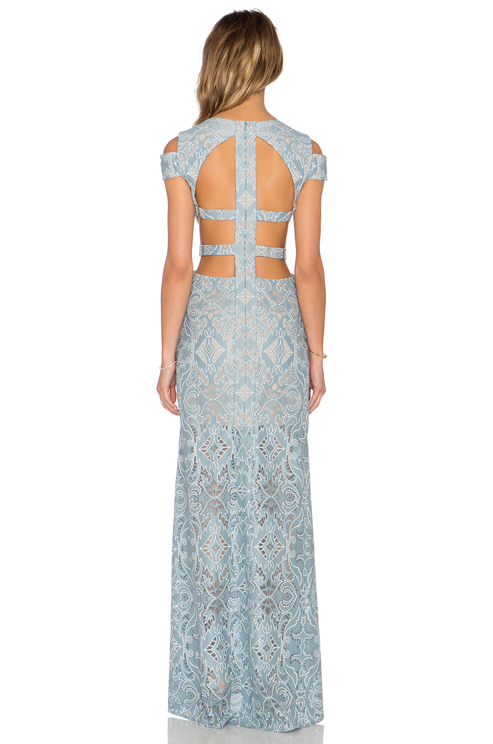 57184817797 BCBGMAXAZRIA Ava Cut Out Gown in Blue - Lyst