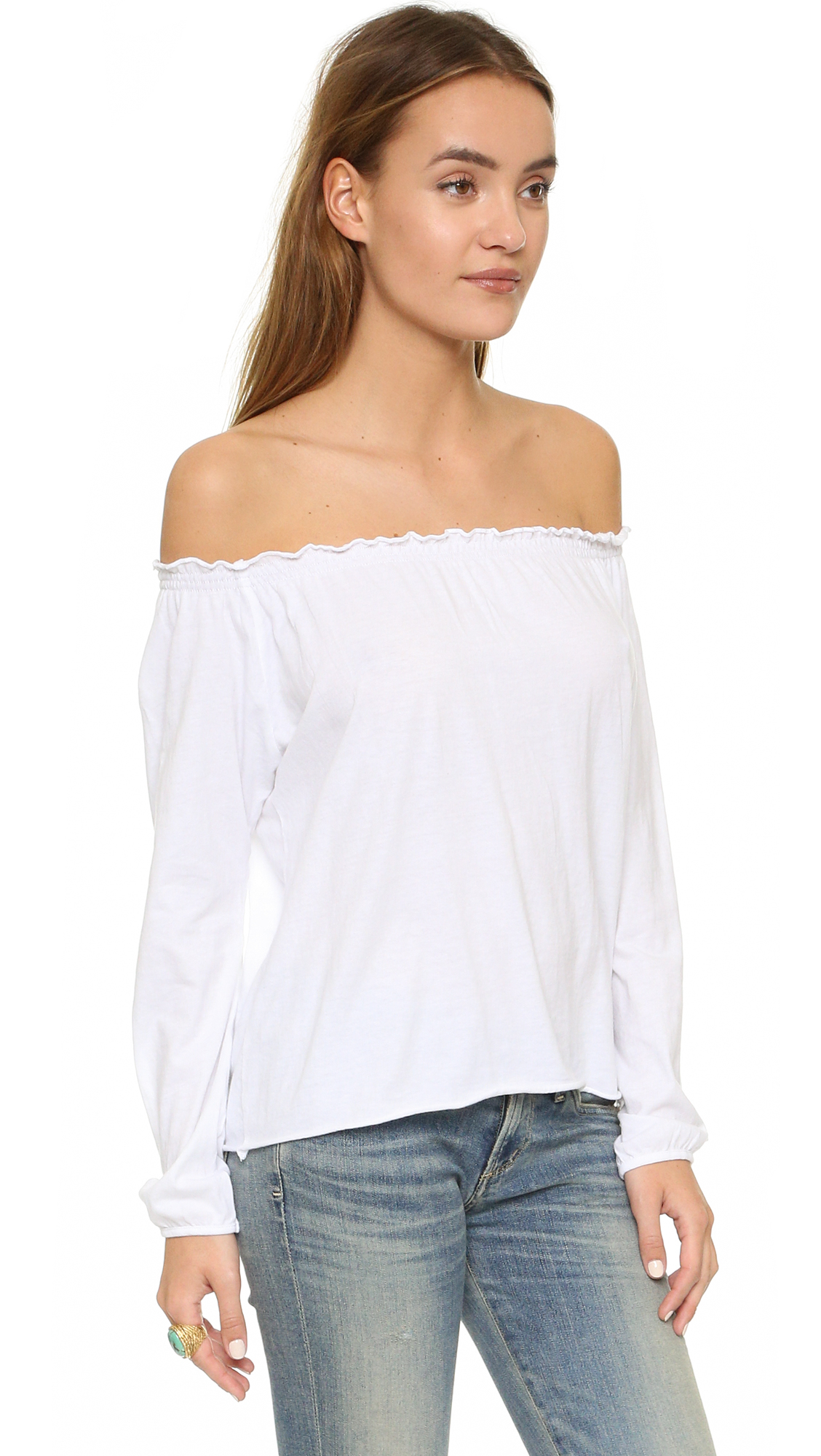 5b372333a204c Lyst - Chaser Off Shoulder Cotton Peasant Blouse in White