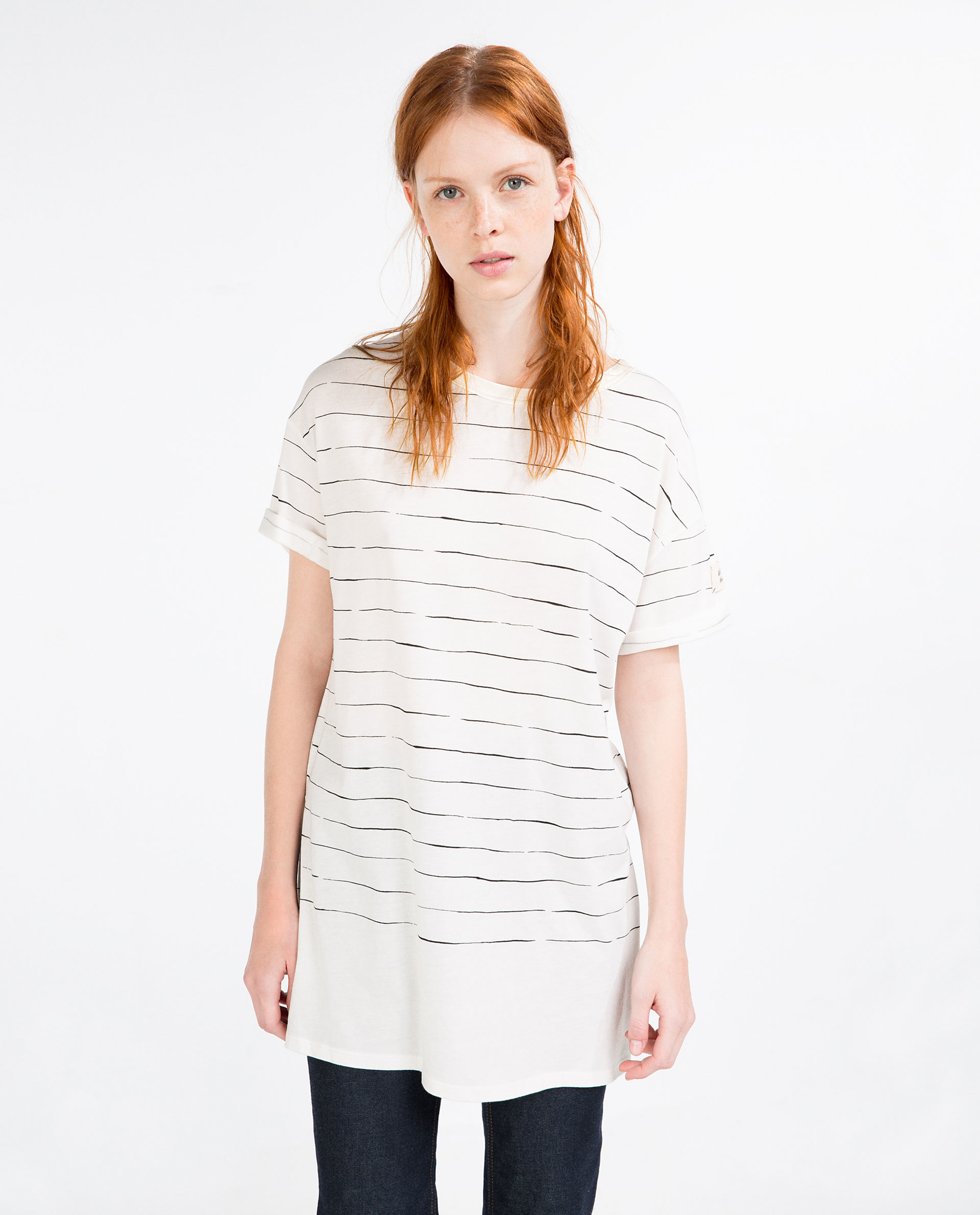 Zara long striped t shirt in white lyst for Zara black t shirt dress