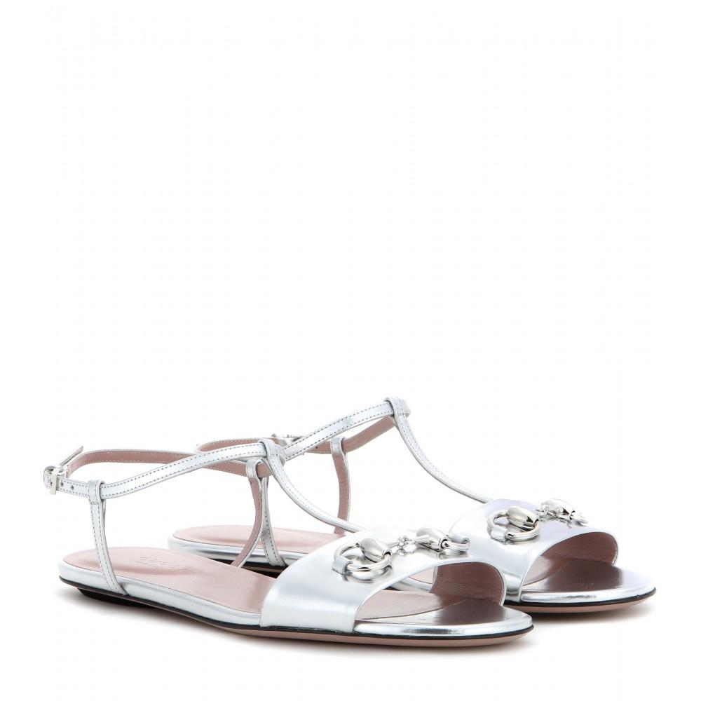 92efa7d2a Gucci Metallic Leather T-Bar Sandals in Metallic - Lyst