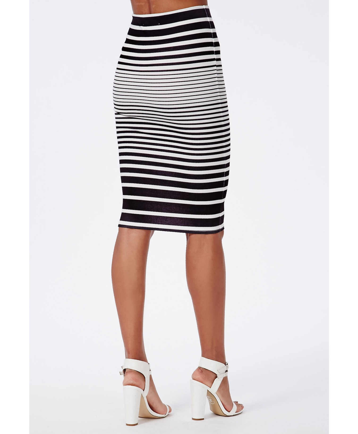 missguided ombre striped scuba midi skirt navy in blue