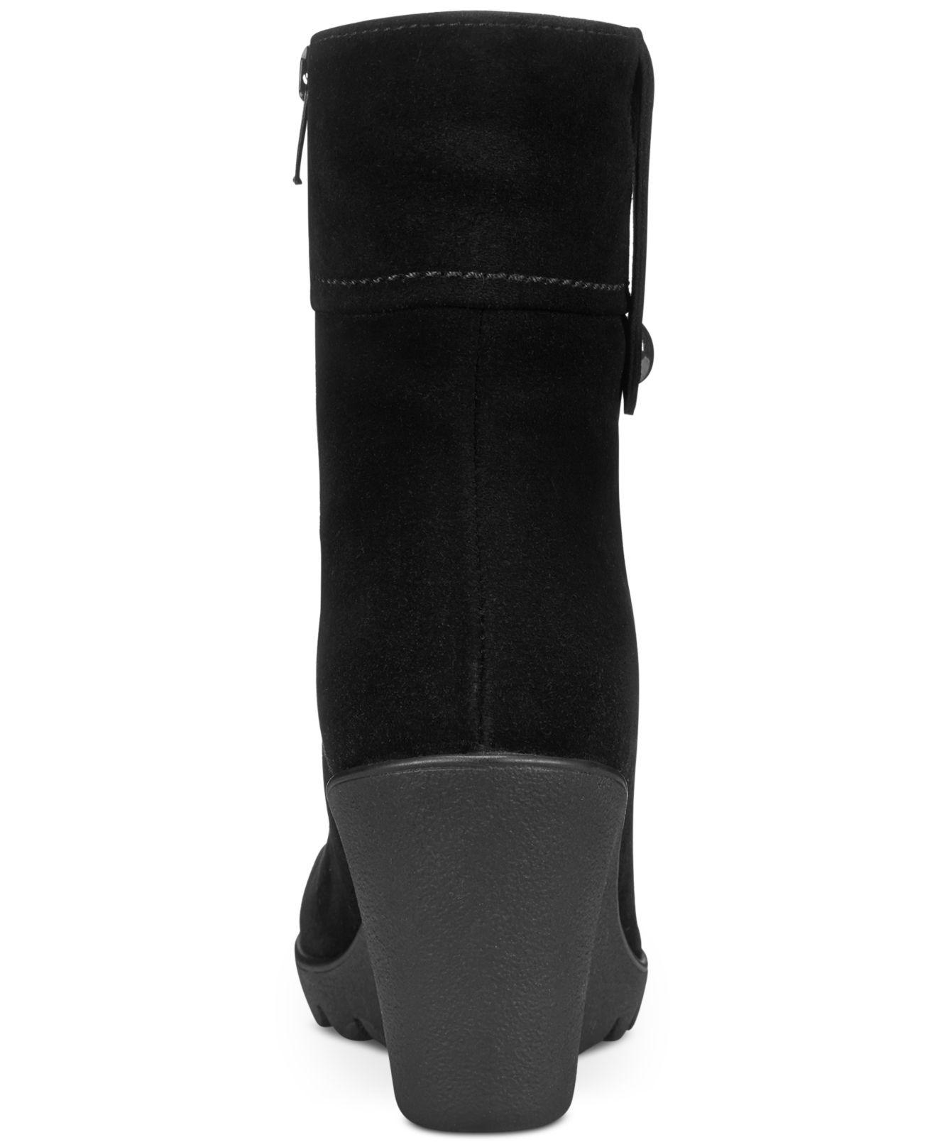 Lyst La Canadienne Bridgette Wedge Booties In Black