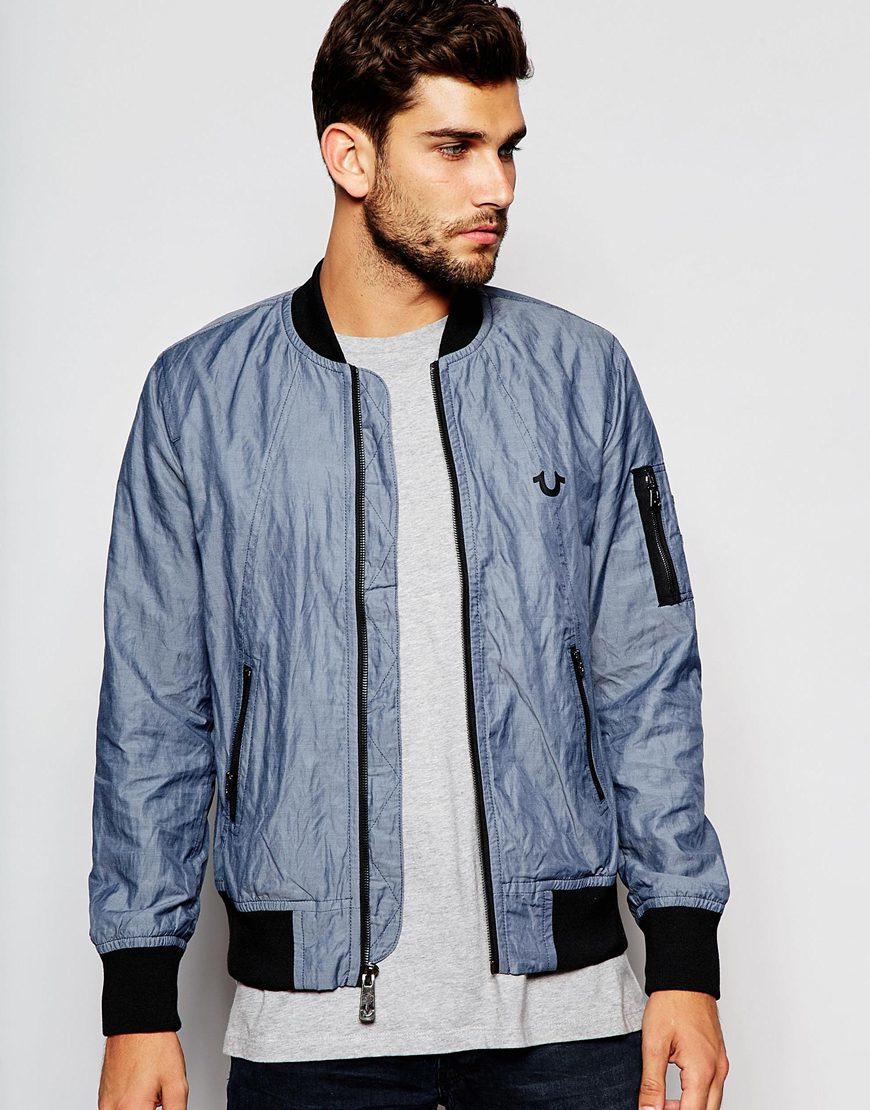 True religion Bomber Jacket in Blue for Men | Lyst