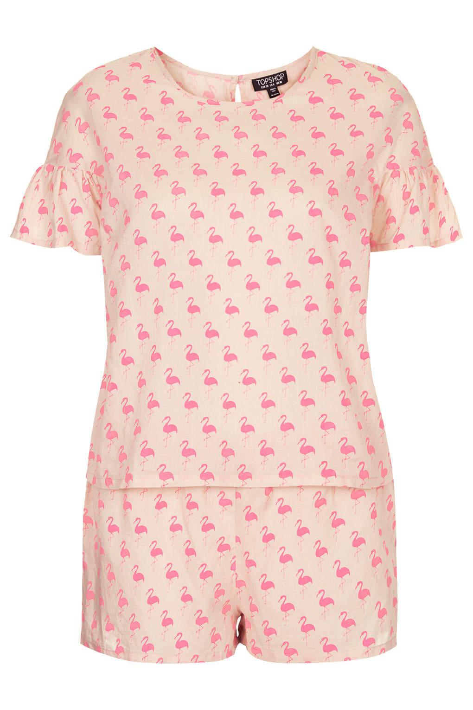 Topshop Flamingo Print Pyjama Set In Pink Lyst