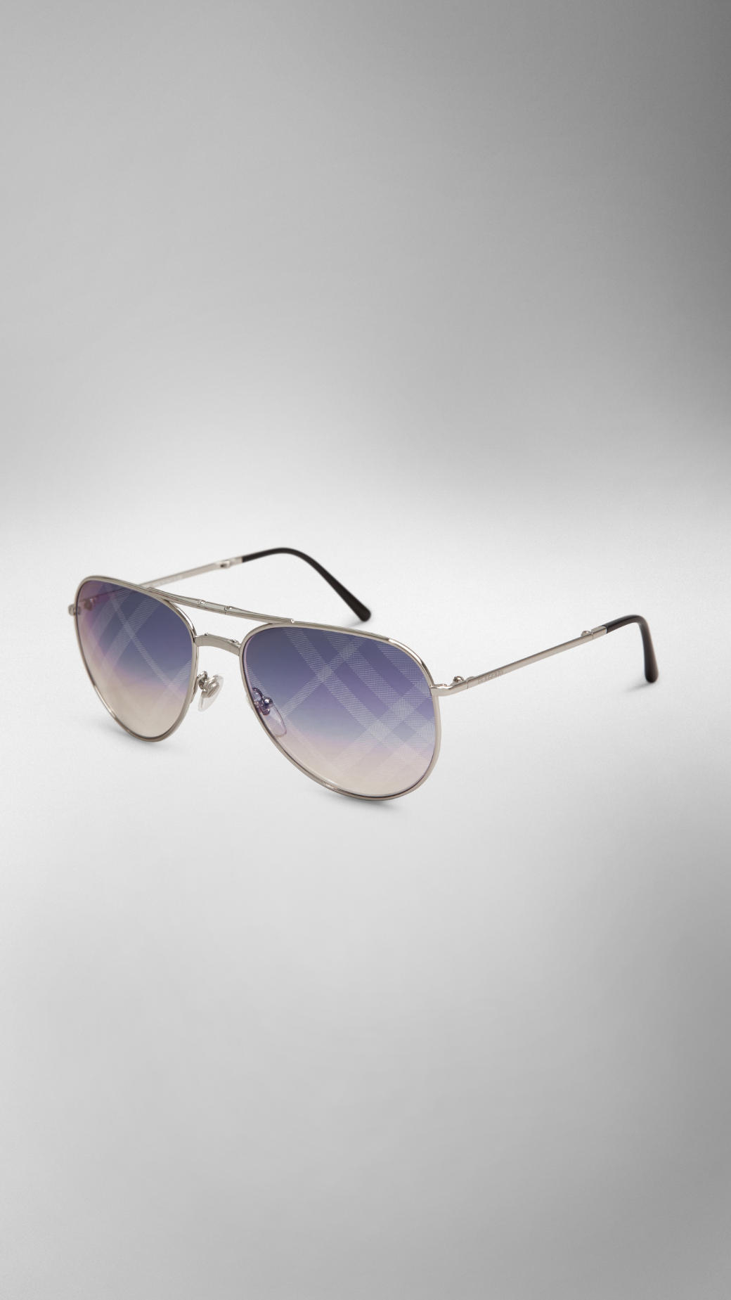 83c3a3f727ec Lyst - Burberry Foldable Aviator Sunglasses With Check Lenses in ...