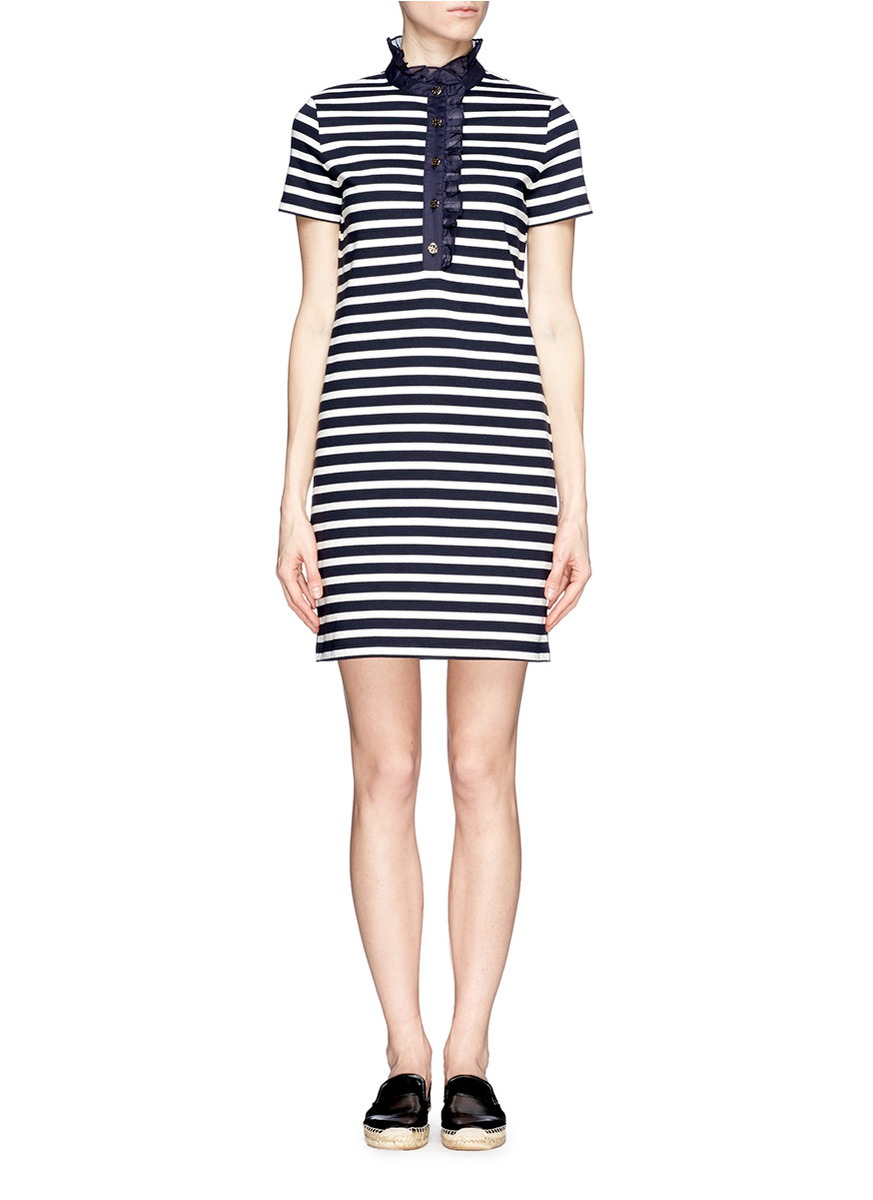 a356aaebe318 Lyst - Tory Burch  lidia  Ruffle Striped Polo Dress