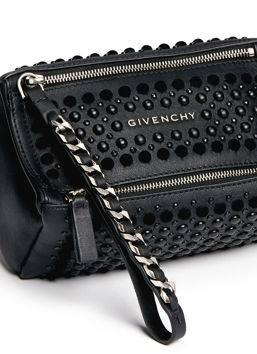 1d4239be95 Givenchy 'pandora' Velvet Stud Leather Wristlet Pouch in Black - Lyst