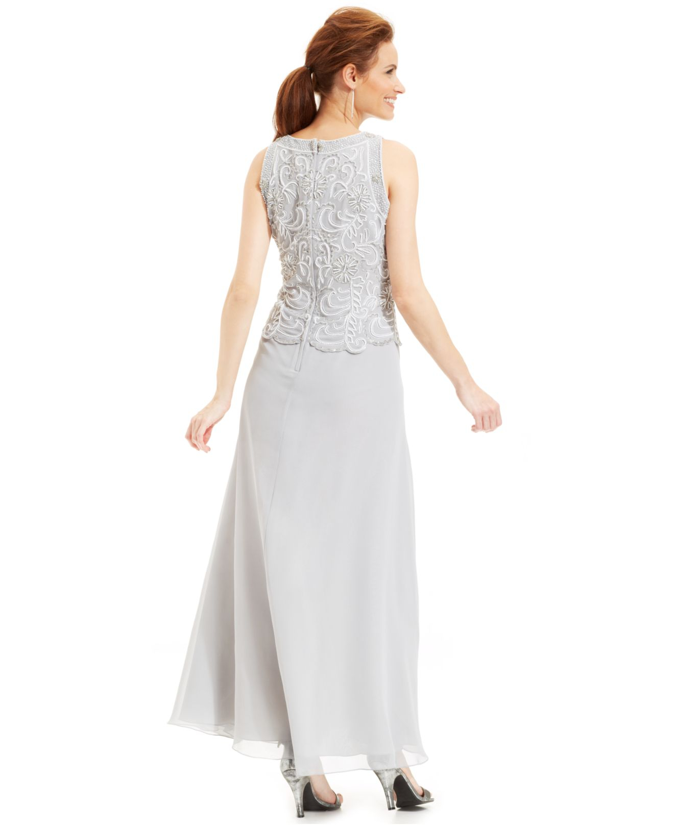 Lyst - J Kara Beaded Bodice Chiffon Gown And Shawl in Metallic