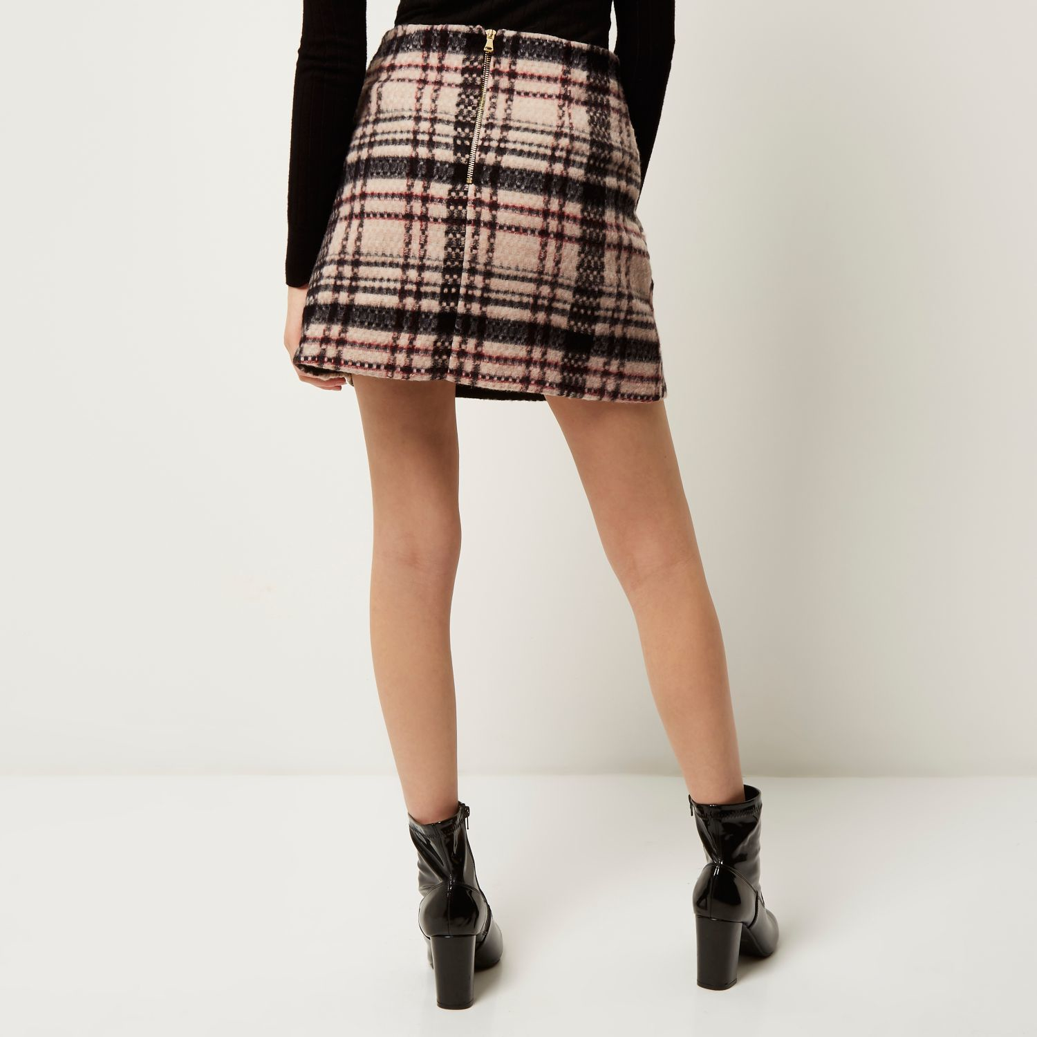 River island Pink Wool-blend Check Mini Skirt in Pink | Lyst