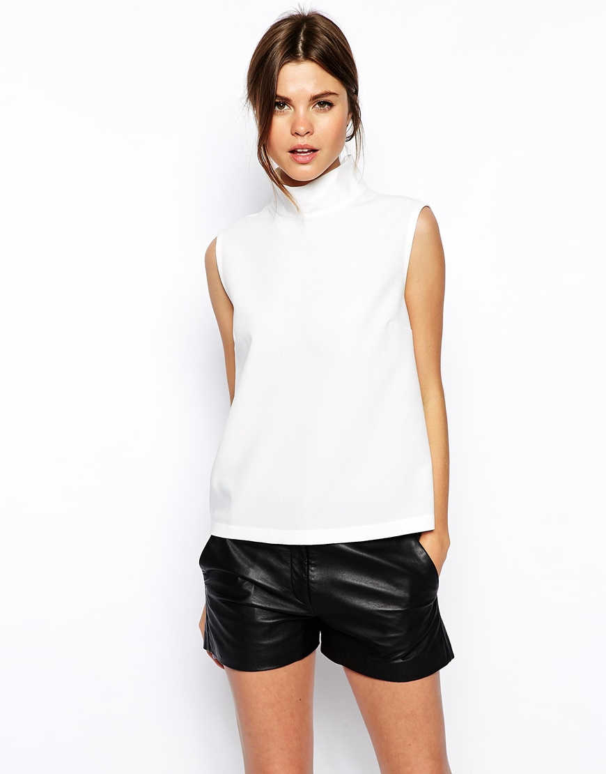 Asos High Neck Sleeveless Top In White