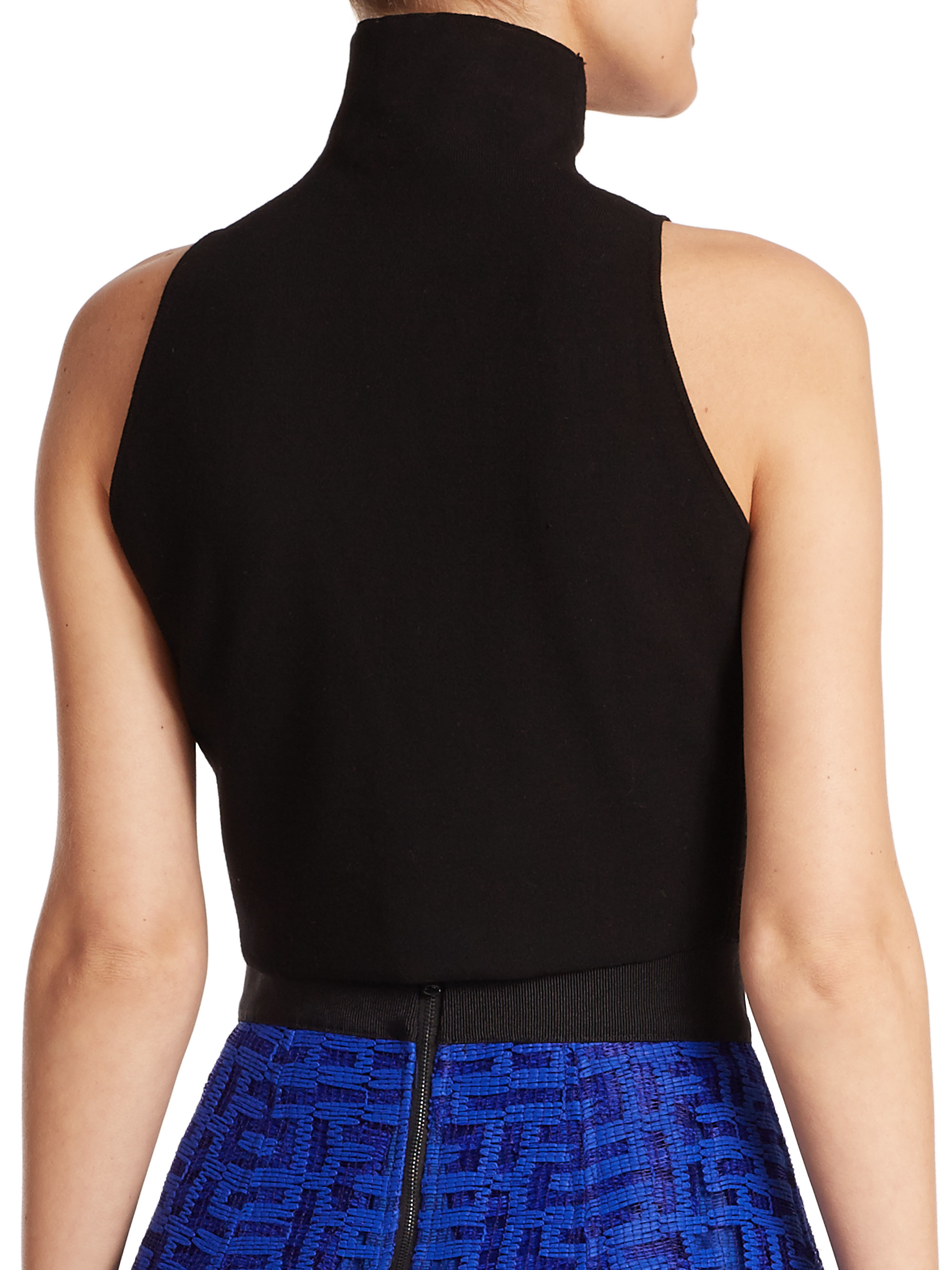 Lyst Milly Sleeveless Turtleneck Cropped Top In Black