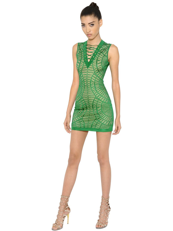Balmain Tattoo Effect Lace Up Viscose Knit Dress In Green