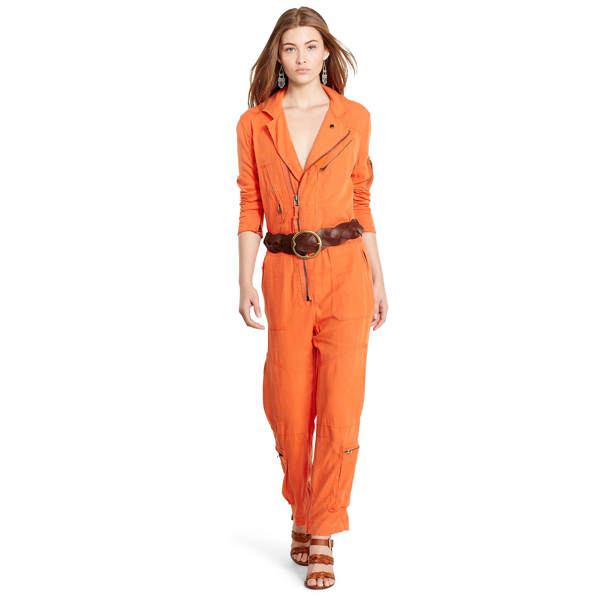 5096accebbf Lyst - Polo Ralph Lauren Zip-front Flight Suit in Orange