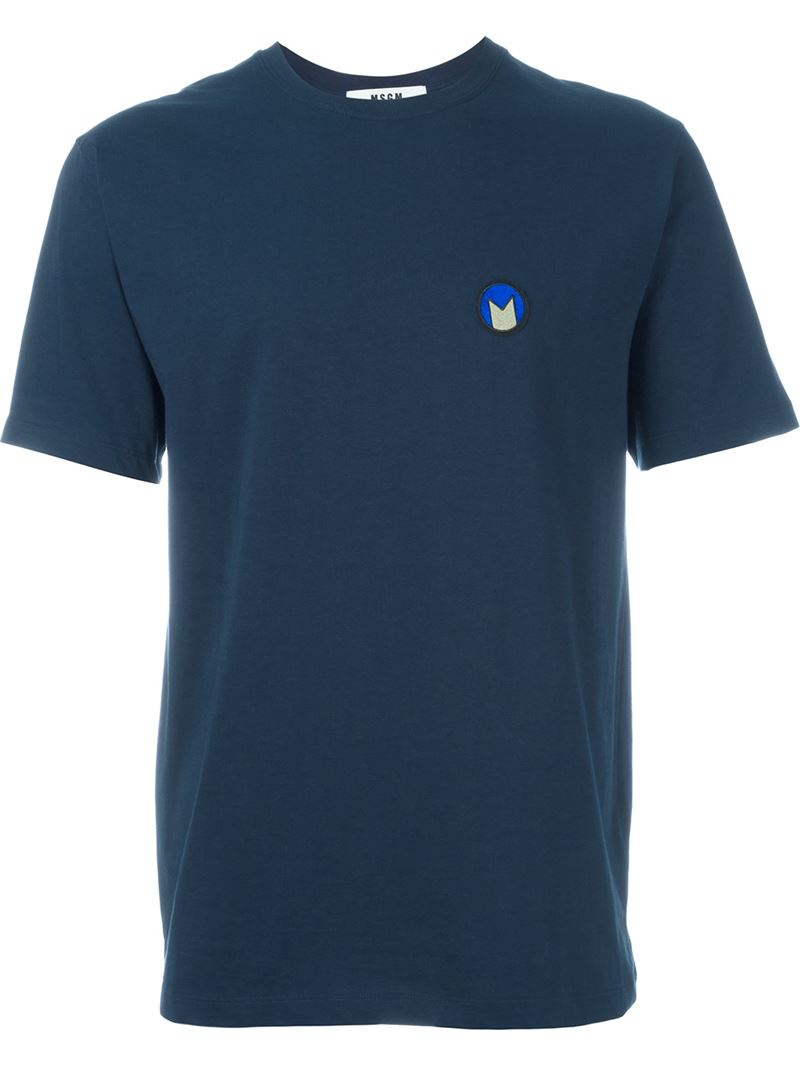 Msgm embroidered logo t shirt in blue for men lyst for T shirt with embroidered logo