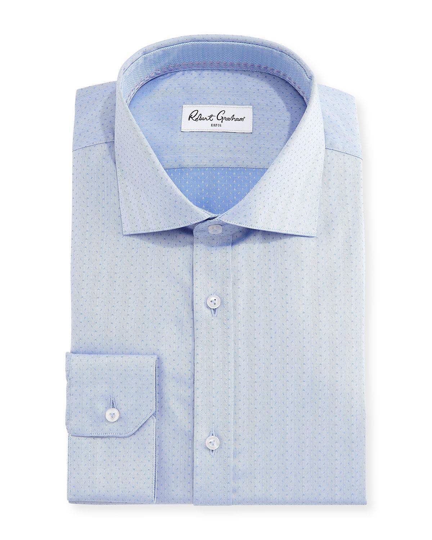 robert graham ancore herringbone dress shirt in blue for