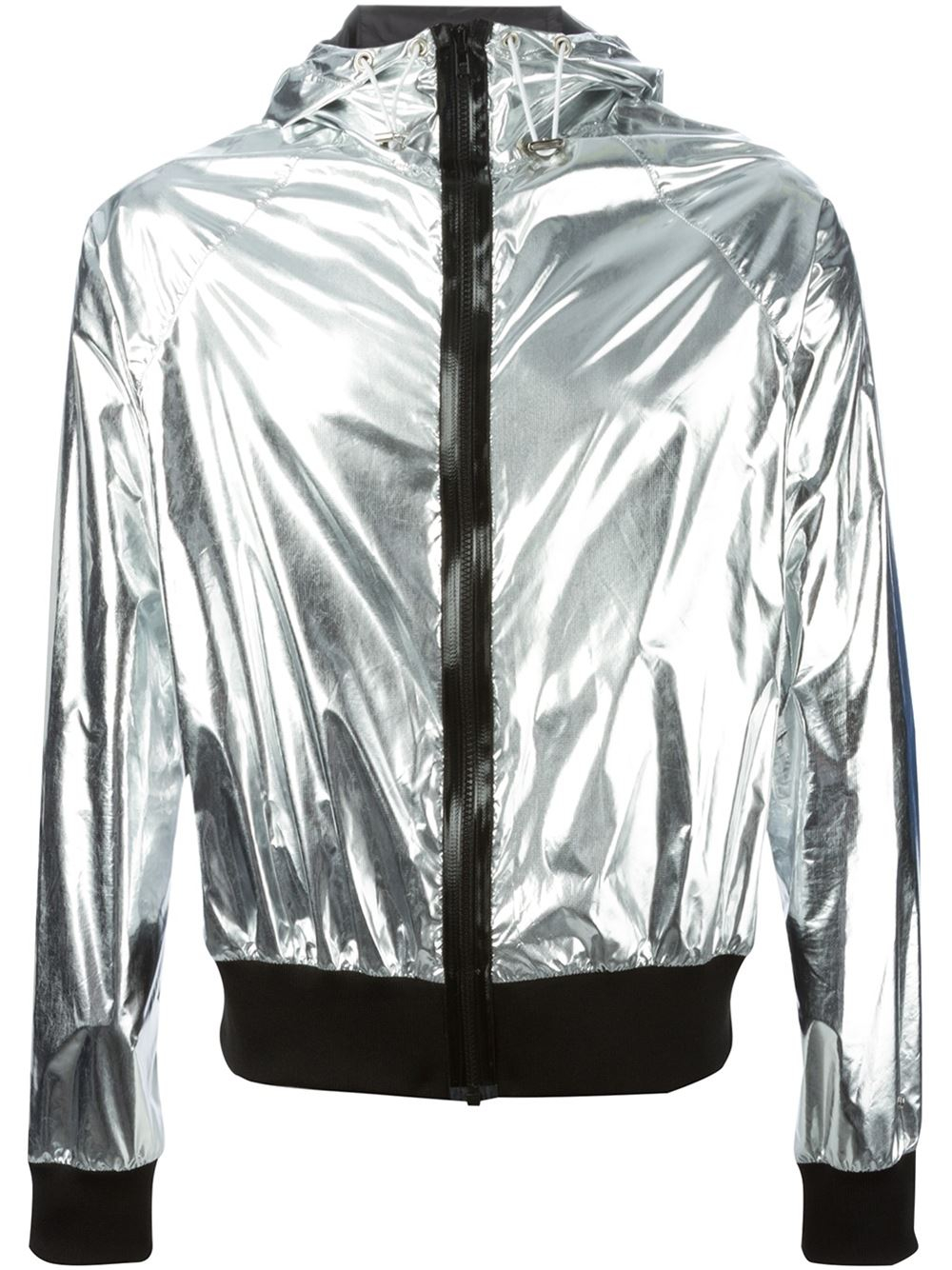 Wanda Nylon Metallic Hooded Bomber Jacket In Silver For