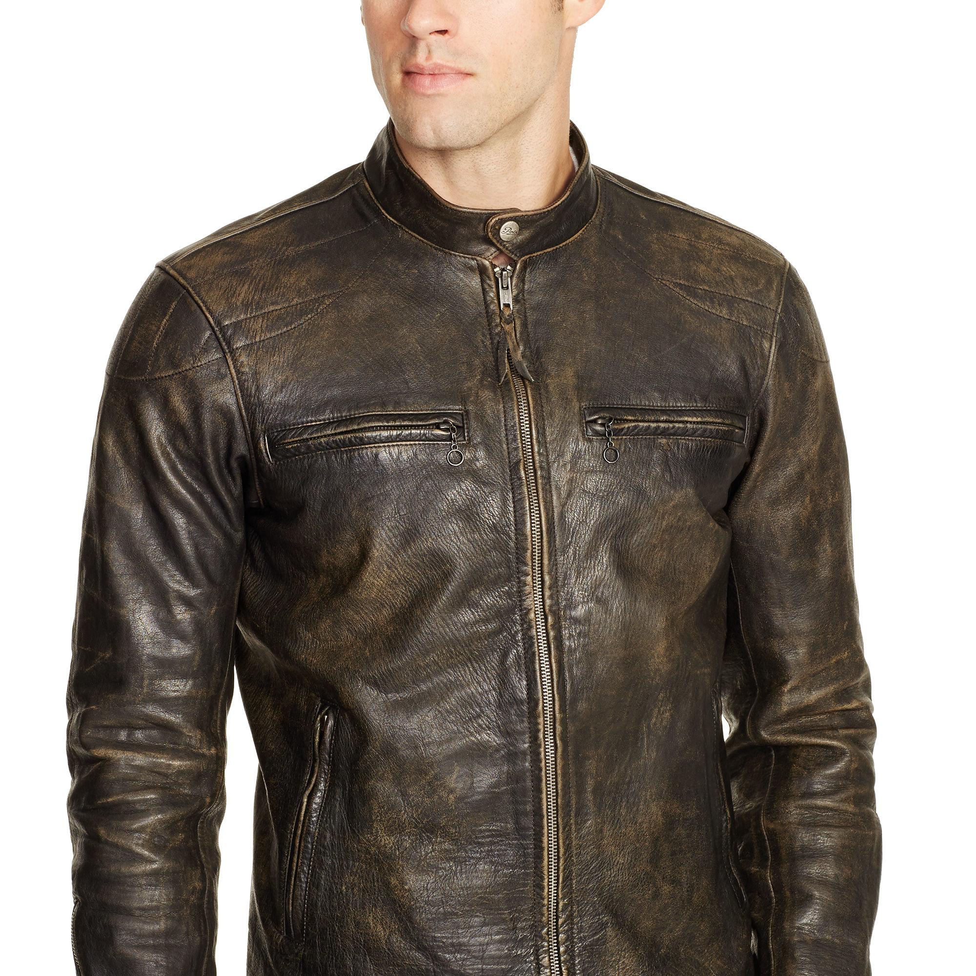 polo ralph lauren leather caf racer jacket in black for. Black Bedroom Furniture Sets. Home Design Ideas