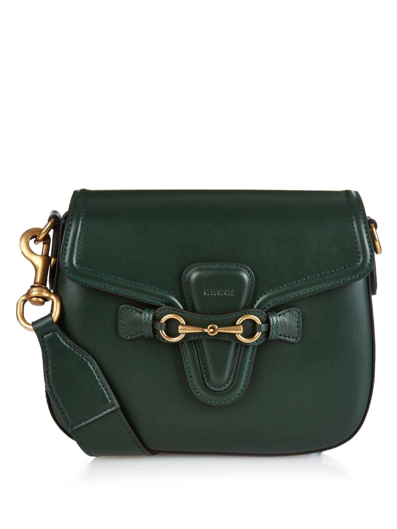 Lyst - Gucci Lady Web Medium Leather Cross-body Bag in Green 29e3b91cee
