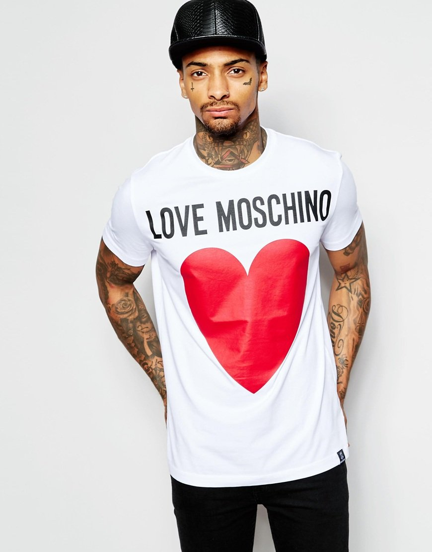 lyst love moschino t shirt with heart logo print in red. Black Bedroom Furniture Sets. Home Design Ideas