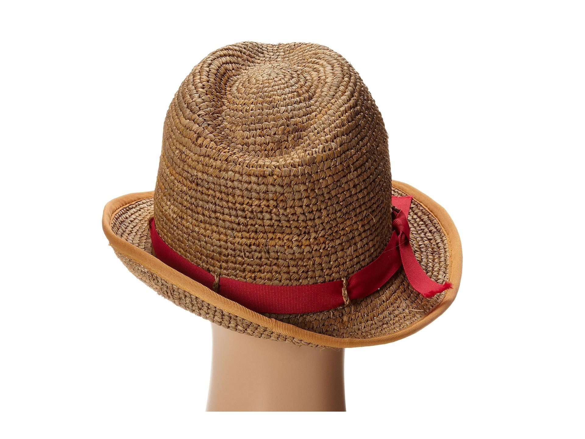 Lyst - Hat Attack Raffia Crochet Bound Edge Fedora in Brown