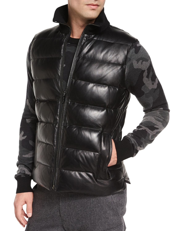 Lyst Michael Kors Leather Puffer Down Vest In Black For Men