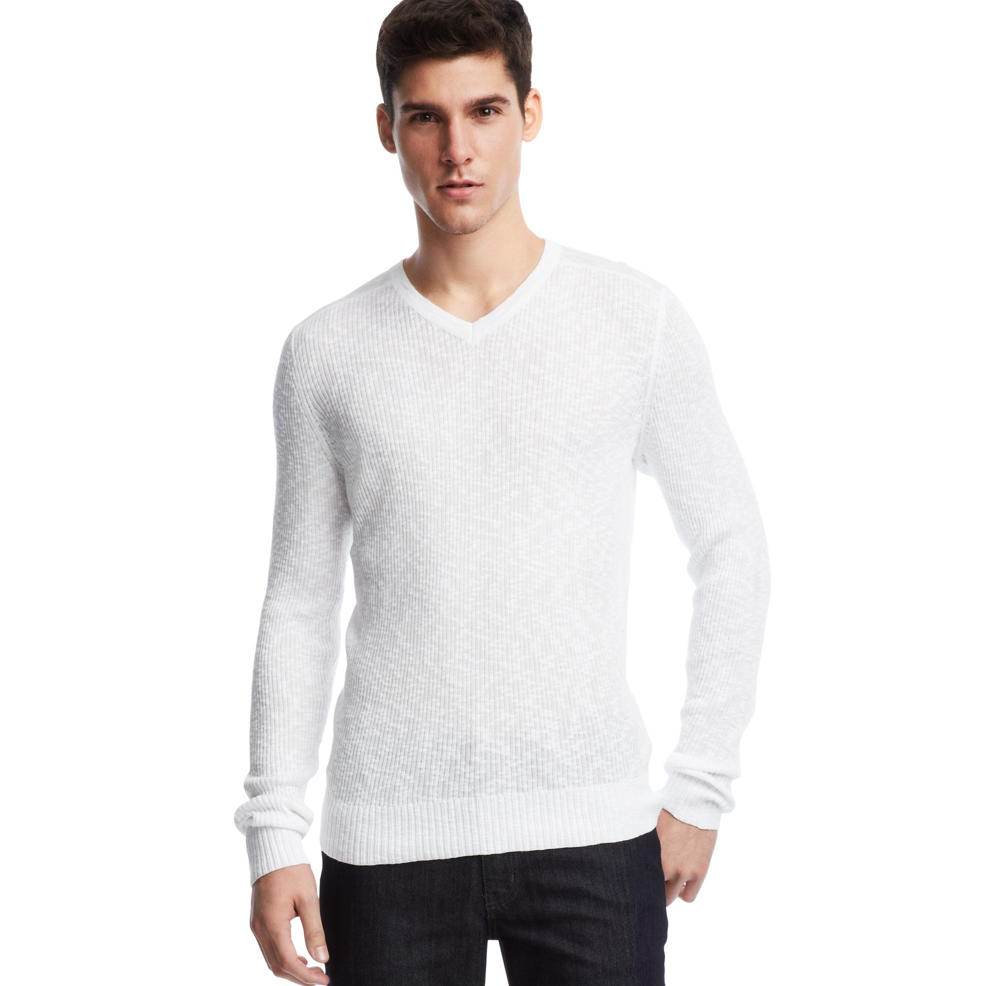 Kenneth cole reaction Long Sleeve Rib Vneck Pullover Sweater in ...